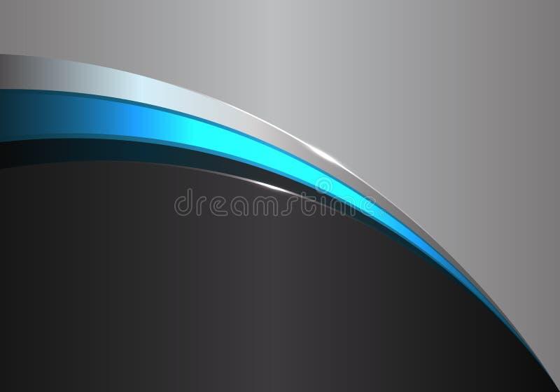Αφηρημένη μπλε καμπύλη γραμμών στο μαύρο γκρίζο διάνυσμα υποβάθρου σχεδίου σύγχρονο φουτουριστικό διανυσματική απεικόνιση
