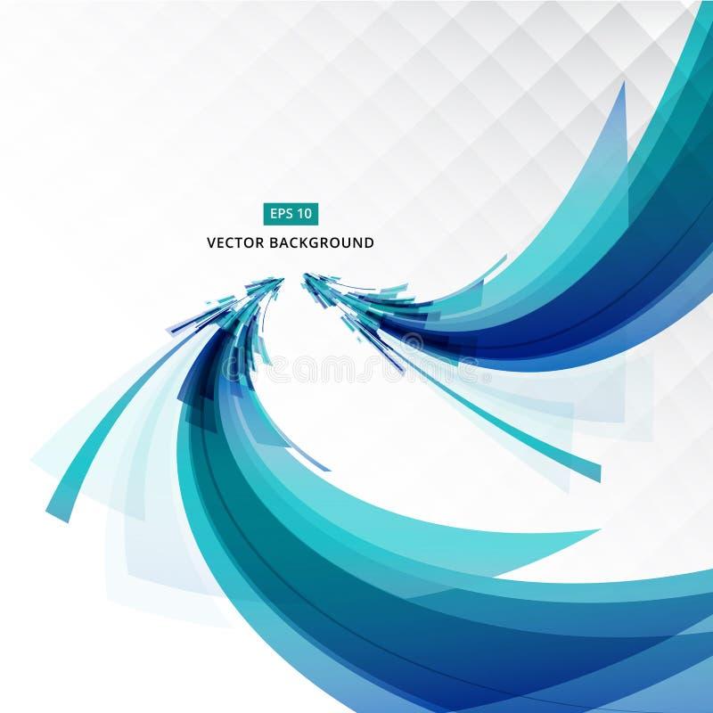 Αφηρημένη μπλε γραμμή μορφής και ελαφριά προοπτική με το backgro πλέγματος διανυσματική απεικόνιση