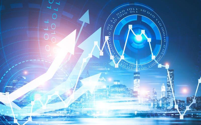 Αφηρημένη οικονομική έννοια αύξησης και τεχνολογίας στοκ εικόνα