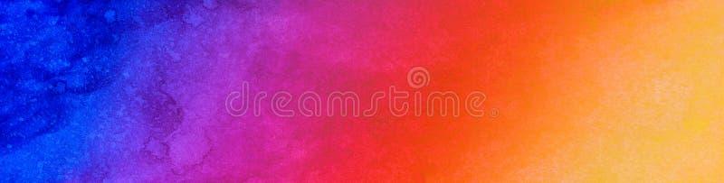 Αφηρημένη πολύχρωμη ζωηρόχρωμη hand-drawn πανοραμική λουρίδα εμβλημάτων Ιστού Μπλε πορφυροί κόκκινοι πορτοκαλιοί κίτρινοι λεκέδες ελεύθερη απεικόνιση δικαιώματος