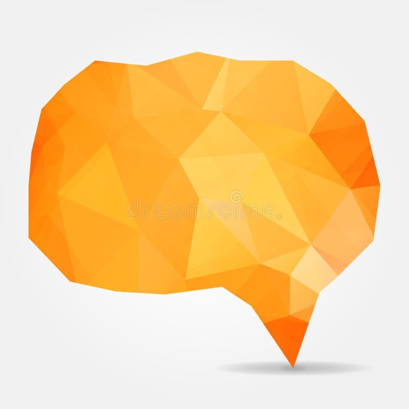 Αφηρημένη πορτοκαλιά λεκτική φυσαλίδα με τα τριγωνικά πολύγωνα διανυσματική απεικόνιση