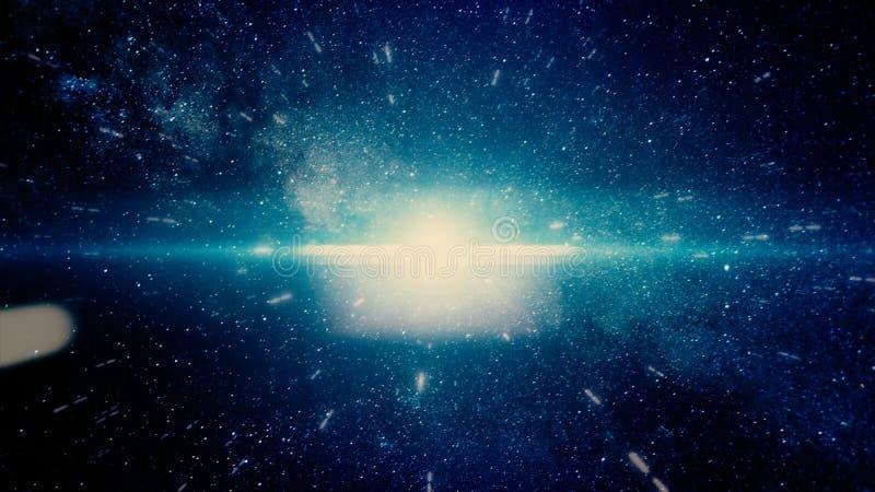 Αφηρημένη πτήση προς τα πίσω μέσω του διαστήματος μεταξύ των λάμποντας αστεριών, άνευ ραφής βρόχος Καταπληκτική γρήγορη κίνηση στ ελεύθερη απεικόνιση δικαιώματος
