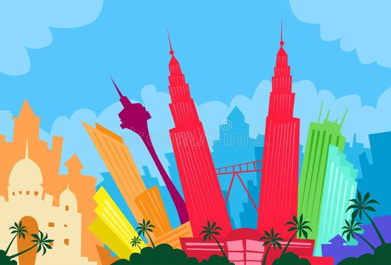 Αφηρημένη πόλη οριζόντων της Κουάλα Λουμπούρ Μαλαισία ελεύθερη απεικόνιση δικαιώματος