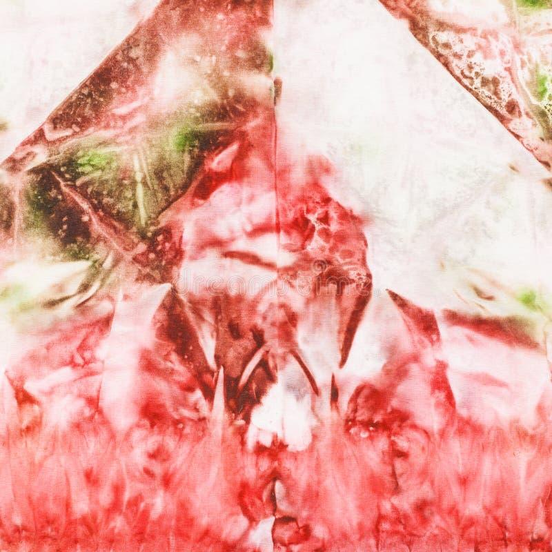 Αφηρημένη ρόδινη και πράσινη ζωγραφική στο μπατίκ μεταξιού στοκ φωτογραφίες