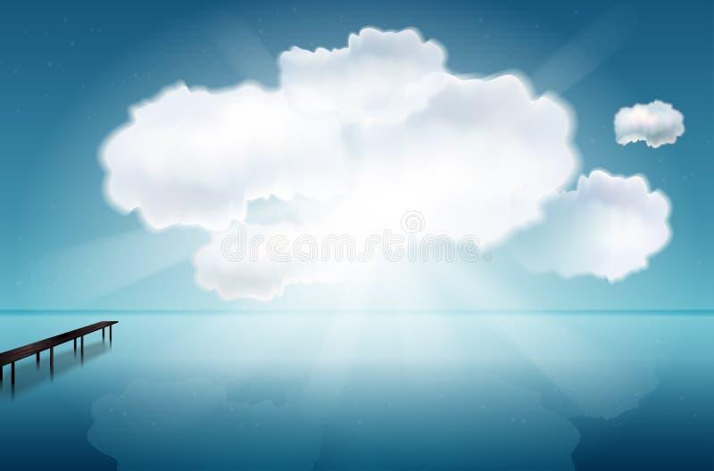 Αφηρημένη σκηνή με τη θάλασσα, την αποβάθρα, τα σύννεφα και τις ακτίνες απεικόνιση αποθεμάτων