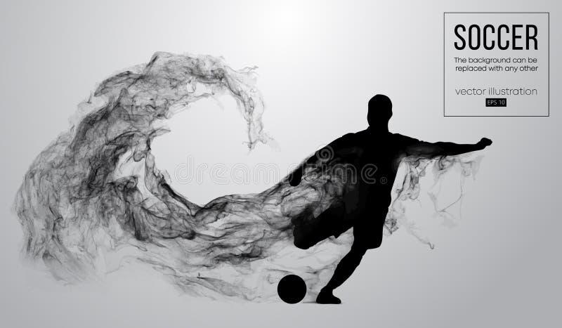 Αφηρημένη σκιαγραφία ενός ποδοσφαιριστή στο άσπρο υπόβαθρο από τα μόρια Τρέξιμο ποδοσφαιριστών που πηδά με τη σφαίρα απεικόνιση αποθεμάτων