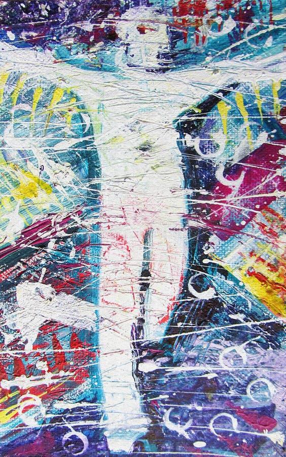 αφηρημένη σκιαγραφία Ζωηρόχρωμες σκιαγραφίες των ανθρώπων Ακρυλικό υπόβαθρο ζωγραφικής με τη σκιαγραφία των ατόμων ελεύθερη απεικόνιση δικαιώματος
