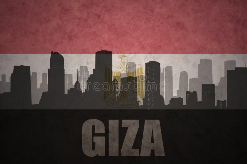 Αφηρημένη σκιαγραφία της πόλης με το κείμενο Giza στην εκλεκτής ποιότητας αιγυπτιακή σημαία ελεύθερη απεικόνιση δικαιώματος