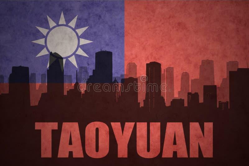 Αφηρημένη σκιαγραφία της πόλης με το κείμενο Taoyuan στην εκλεκτής ποιότητας σημαία της Ταϊβάν στοκ φωτογραφίες με δικαίωμα ελεύθερης χρήσης