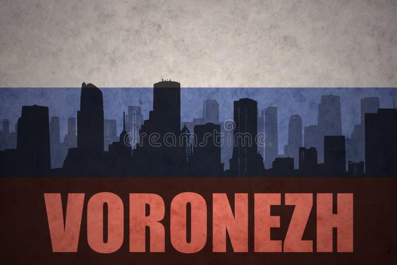 Αφηρημένη σκιαγραφία της πόλης με το κείμενο Voronezh στην εκλεκτής ποιότητας ρωσική σημαία διανυσματική απεικόνιση