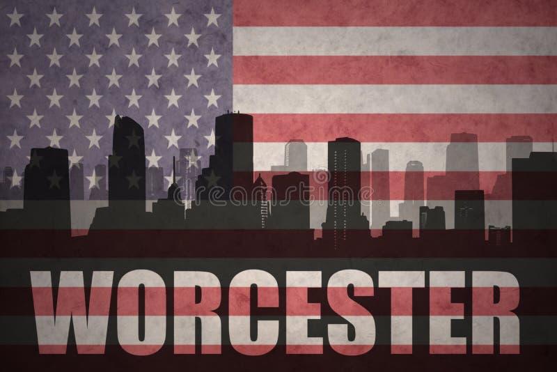 Αφηρημένη σκιαγραφία της πόλης με το κείμενο Worcester στην εκλεκτής ποιότητας αμερικανική σημαία ελεύθερη απεικόνιση δικαιώματος