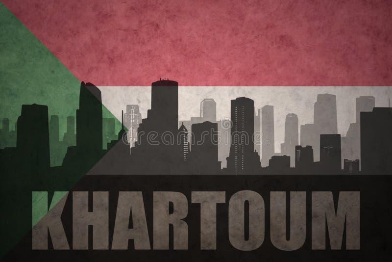 Αφηρημένη σκιαγραφία της πόλης με το κείμενο Χαρτούμ στην εκλεκτής ποιότητας σουδανέζικη σημαία στοκ φωτογραφία