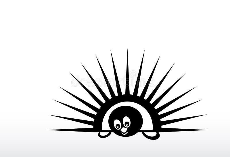 Αφηρημένη σκιαγραφία του αστείου σκαντζόχοιρου με τις βελόνες, σκίτσο για το σχέδιό σας διανυσματική απεικόνιση