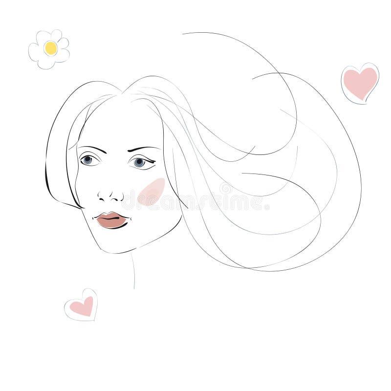 Αφηρημένη σκιαγραφία του θηλυκού κεφαλιού ελεύθερη απεικόνιση δικαιώματος