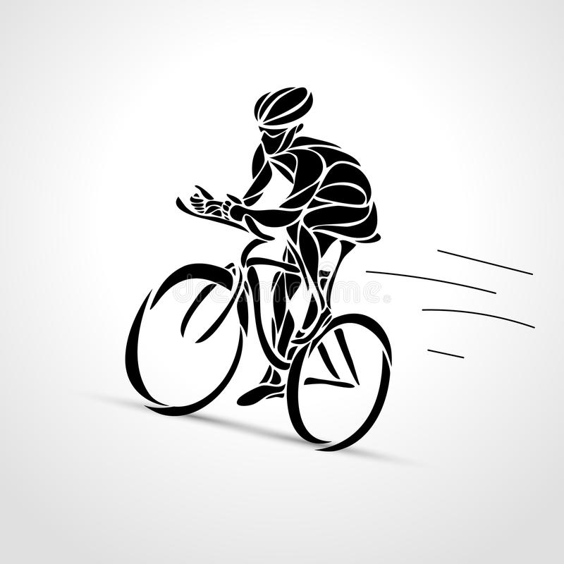 Αφηρημένη σκιαγραφία του μαύρου λογότυπου ποδηλατών ποδηλάτων bicyclist ελεύθερη απεικόνιση δικαιώματος