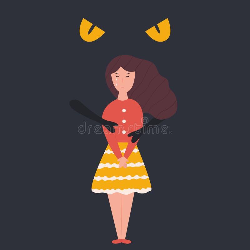 Αφηρημένη σκοτεινή κατάθλιψη που αγκαλιάζει το δυστυχισμένο λυπημένο κορίτσι ελεύθερη απεικόνιση δικαιώματος
