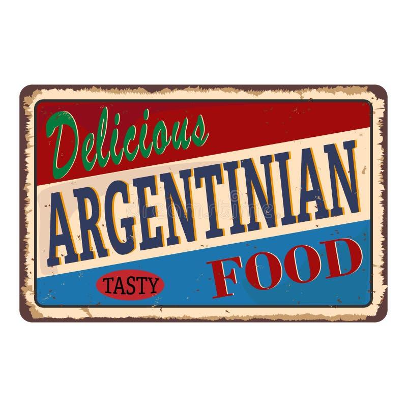 Αφηρημένη σκουριασμένη πιάτο ή ετικέτα με τα εύγευστα αργεντινά τρόφιμα κειμένων γραπτά μέσα, παραδοσιακή εκλεκτής ποιότητας ετικ διανυσματική απεικόνιση