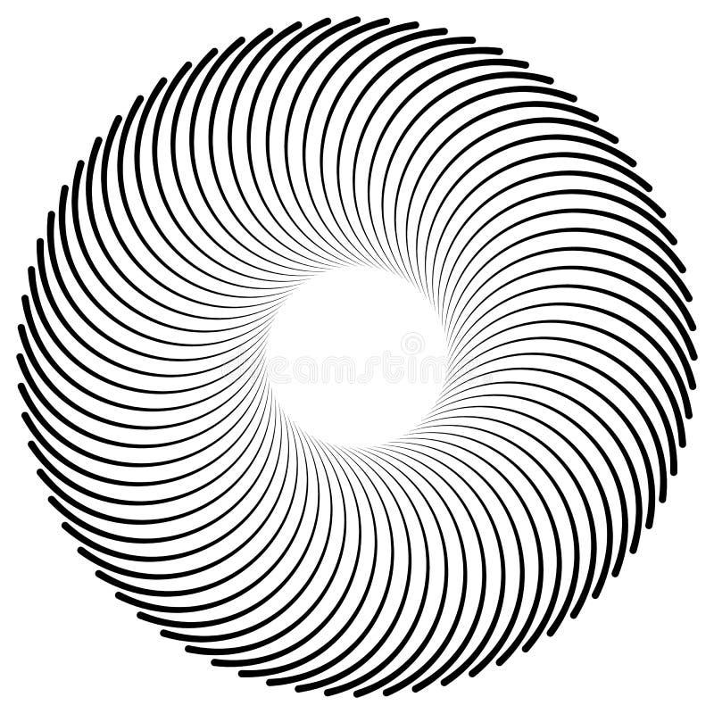 Αφηρημένη σπείρα, στοιχείο δίνης Ακτινοβολώντας, ακτινωτές καμμμένες γραμμές ελεύθερη απεικόνιση δικαιώματος