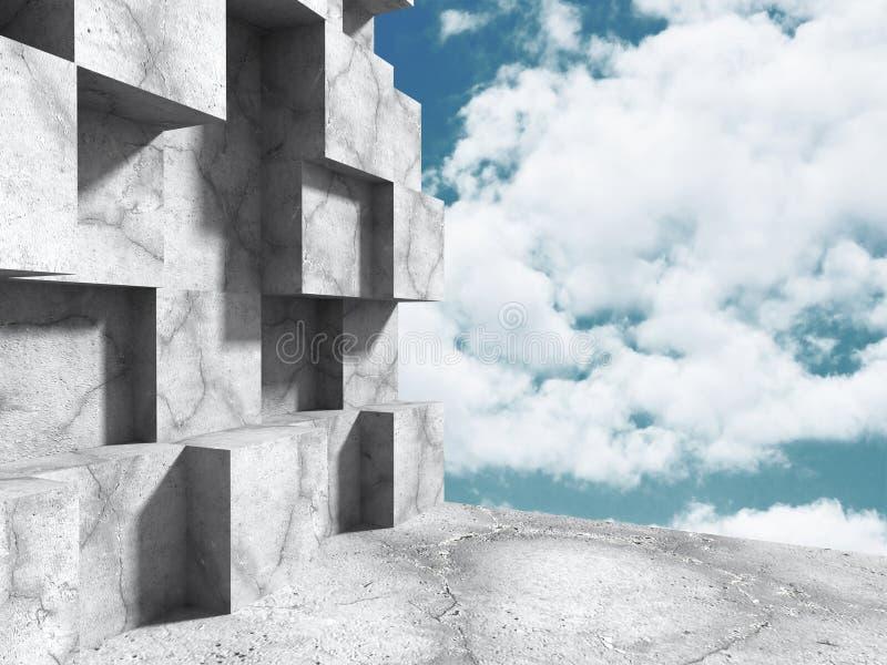 Αφηρημένη συγκεκριμένη κατασκευή αρχιτεκτονικής στο υπόβαθρο ουρανού απεικόνιση αποθεμάτων