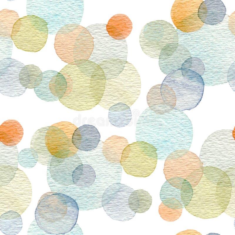 Αφηρημένη συρμένη χέρι watercolor σύσταση σχεδίων κύκλων άνευ ραφής ελεύθερη απεικόνιση δικαιώματος