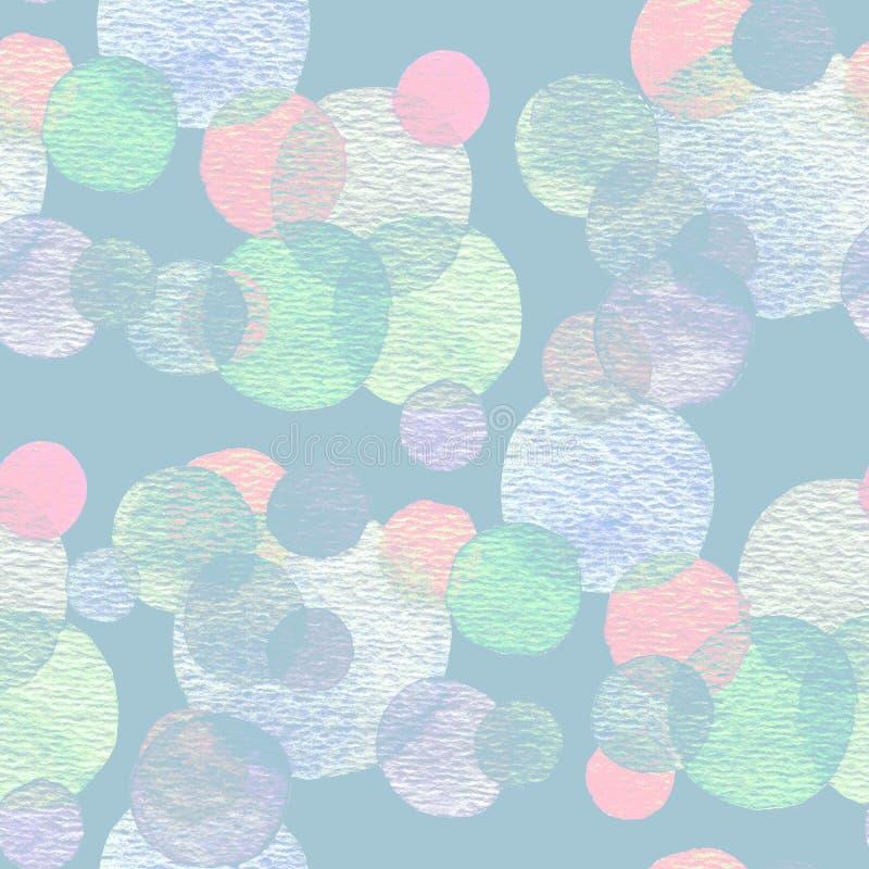 Αφηρημένη συρμένη χέρι watercolor σύσταση σχεδίων κύκλων άνευ ραφής διανυσματική απεικόνιση