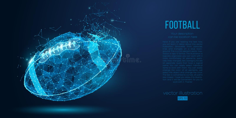 Αφηρημένη σφαίρα αμερικανικού ποδοσφαίρου από τα μόρια, τις γραμμές και τα τρίγωνα στο μπλε υπόβαθρο Ράγκμπι τεχνολογίας Cyber δι απεικόνιση αποθεμάτων