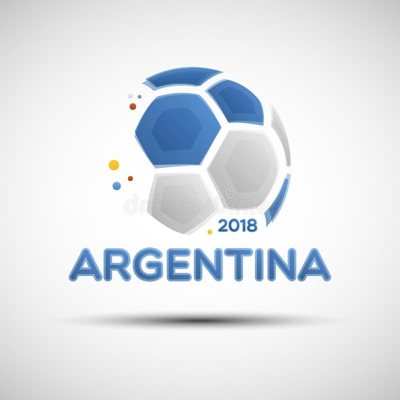 Αφηρημένη σφαίρα ποδοσφαίρου με τα αργεντινά χρώματα εθνικών σημαιών απεικόνιση αποθεμάτων