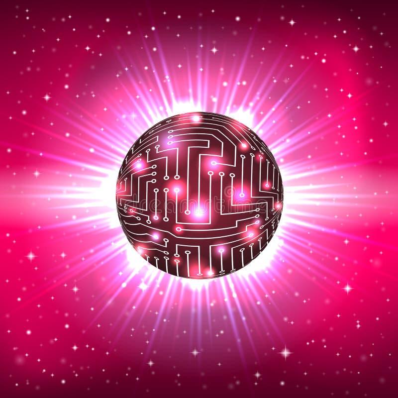 Αφηρημένη σφαίρα των ηλεκτρονικών στοιχείων κυκλώματος ελεύθερη απεικόνιση δικαιώματος