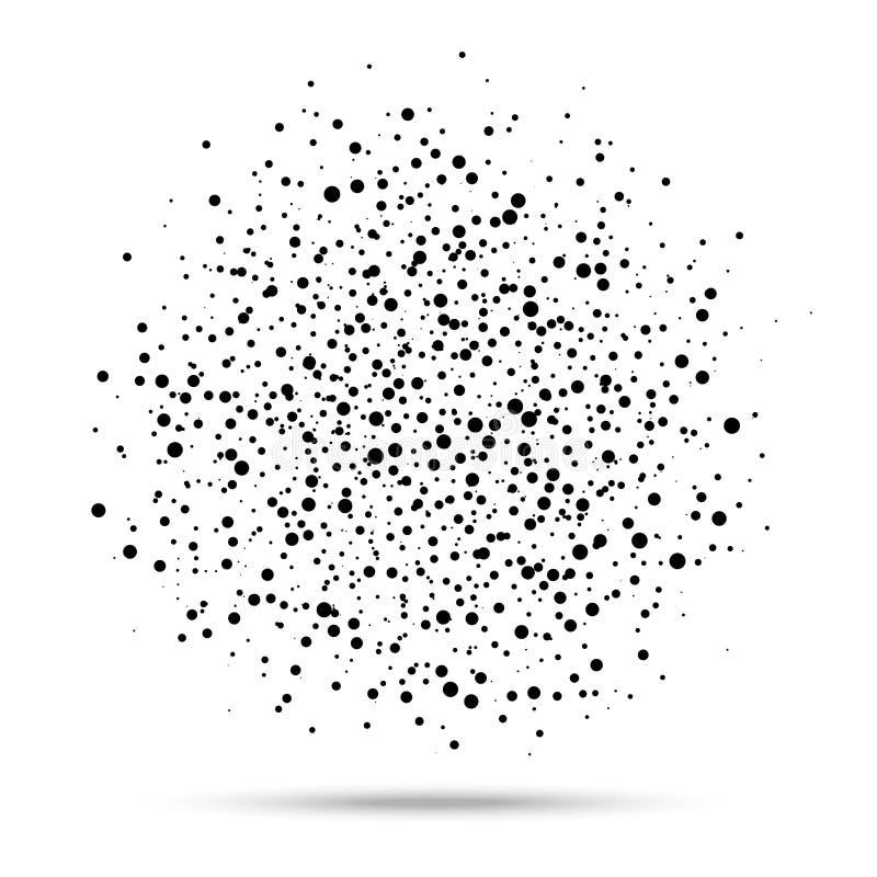 Αφηρημένη σφαίρα των μαύρων τυχαίων σημείων στο άσπρο υπόβαθρο, σημείο των κύκλων, διανυσματικό στοιχείο σχεδίου απεικόνιση αποθεμάτων