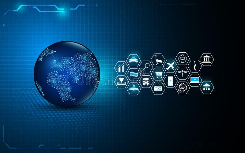 Αφηρημένη σφαιρική ψηφιακή τεχνολογία με Διαδίκτυο του υποβάθρου σχεδίου εικονιδίων πραγμάτων διανυσματική απεικόνιση