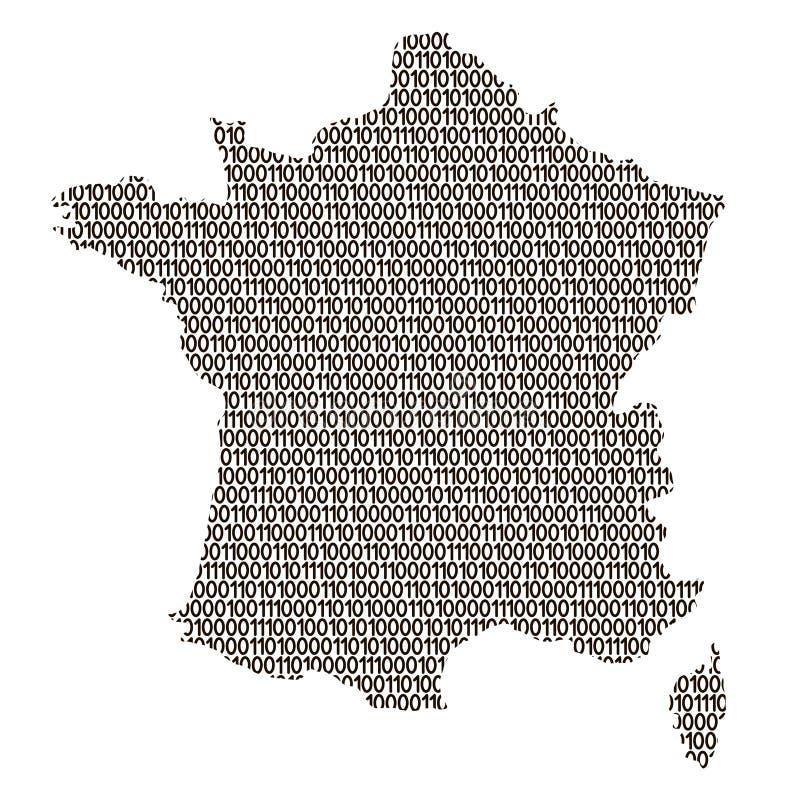 Αφηρημένη σχηματική αναπαράσταση χαρτών της Γαλλίας από μαύρες και τα μηδενικά δυαδικό δ διανυσματική απεικόνιση