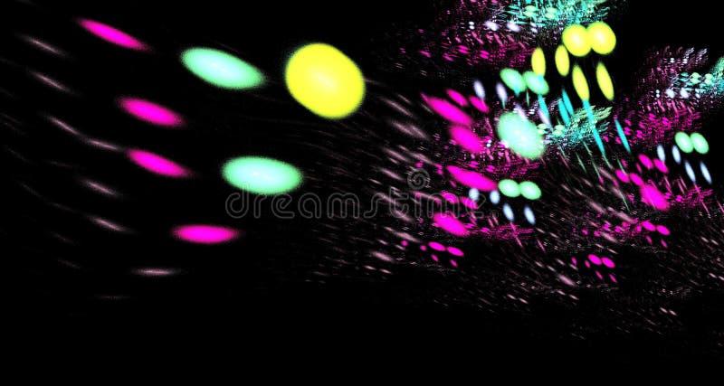 Αφηρημένη σύνθεση αριθμού των τεμνόμενων γραμμών χρώματος σε ένα μαύρο υπόβαθρο, fractal, για τις καλύψεις, δίσκοι, ιστοχώροι, εμ στοκ φωτογραφία