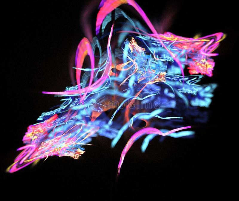 Αφηρημένη σύνθεση αριθμού των τεμνόμενων γραμμών χρώματος σε ένα μαύρο υπόβαθρο, fractal, για τις καλύψεις, δίσκοι, ιστοχώροι, εμ στοκ εικόνα