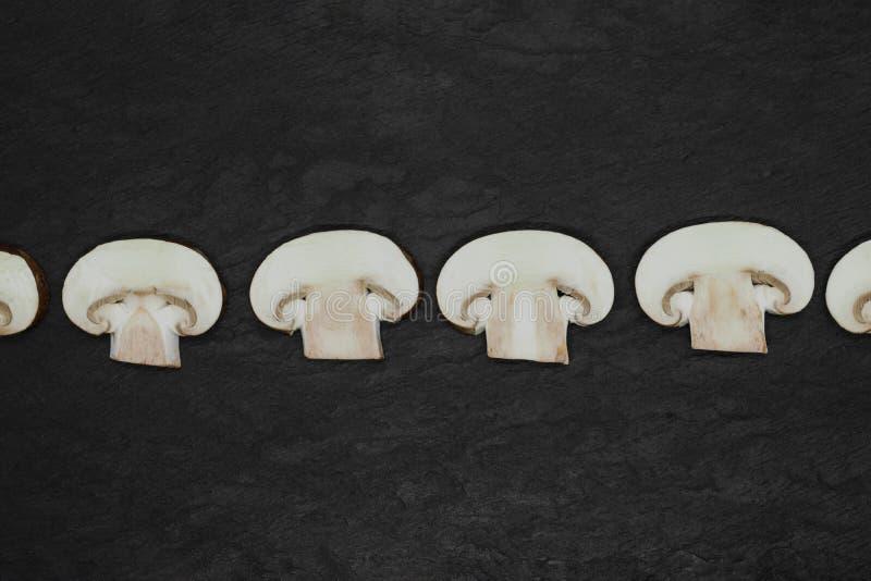 Αφηρημένη σύνθεση καφετιών champignons διάσπασης των επάνω μανιταριών που τοποθετούνται στη γραμμή στην επιφάνεια υποβάθρου πετρώ στοκ εικόνες