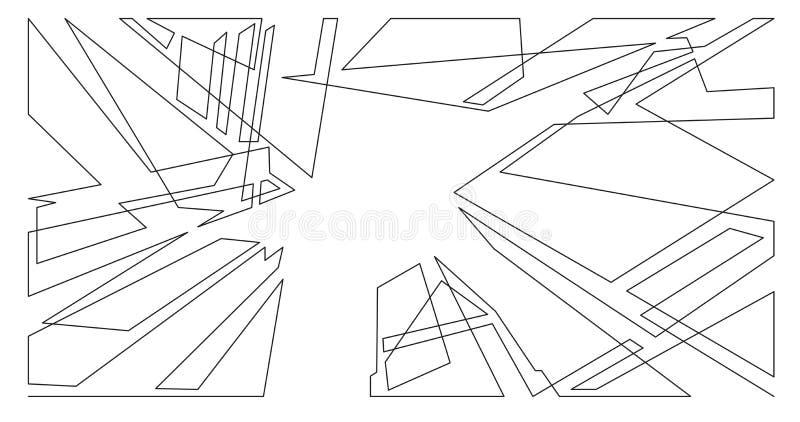 Αφηρημένη σύνθεση ουρανοξυστών αρχιτεκτονικής - ενιαία διανυσματική γραφική παράσταση γραμμών στο άσπρο υπόβαθρο απεικόνιση αποθεμάτων