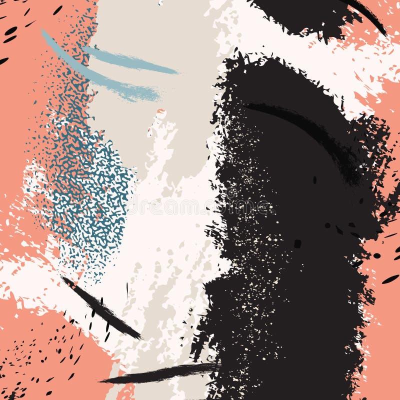 Αφηρημένη σύσταση κοραλλιών Grunge, μίγμα ακρυλικών χρωμάτων με τα μαύρα κτυπήματα Αγαθό για την κάλυψη σχεδίου, παρουσίαση, πρόσ ελεύθερη απεικόνιση δικαιώματος