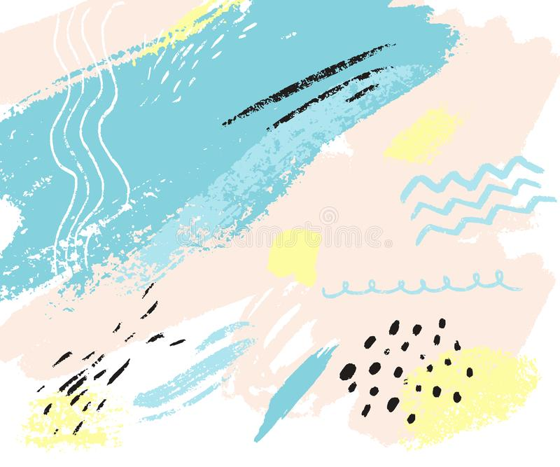 Αφηρημένη σύσταση με τα σημάδια χεριών Διανυσματικό υπόβαθρο κρητιδογραφιών με τις μορφές του μπλε, ρόδινου και κίτρινου χρώματος διανυσματική απεικόνιση