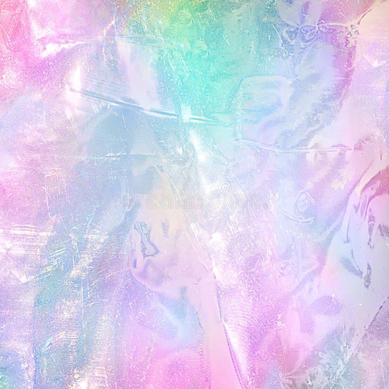 Αφηρημένη σύσταση φύλλων αλουμινίου ουράνιων τόξων ολογραφική Καθιερώνον τη μόδα μαγικό υπόβαθρο με τα χρώματα κρητιδογραφιών στοκ εικόνα με δικαίωμα ελεύθερης χρήσης