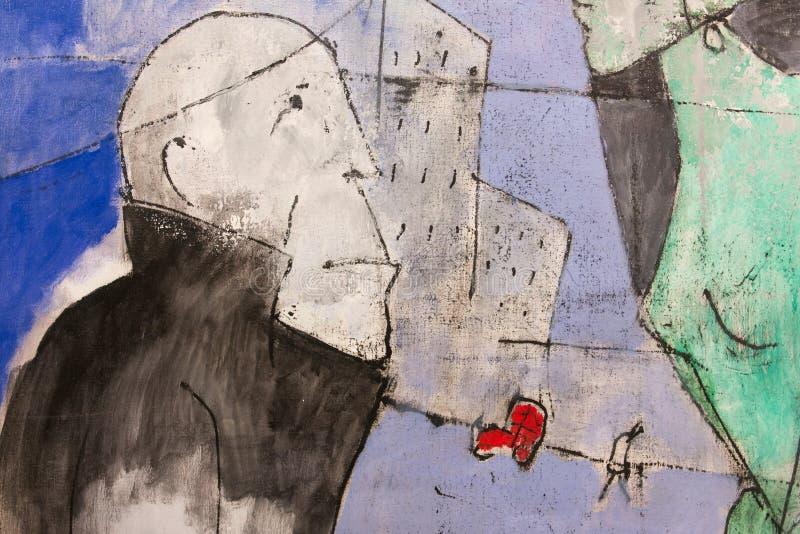 Αφηρημένη τέχνη ζωγραφικής: Άτομο και η πόλη απεικόνιση αποθεμάτων