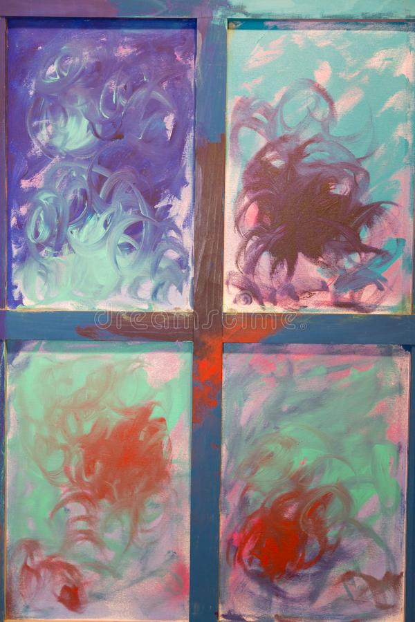 Αφηρημένη τέχνη ζωγραφικής: Κτυπήματα με τα διαφορετικά σχέδια χρώματος - W απεικόνιση αποθεμάτων