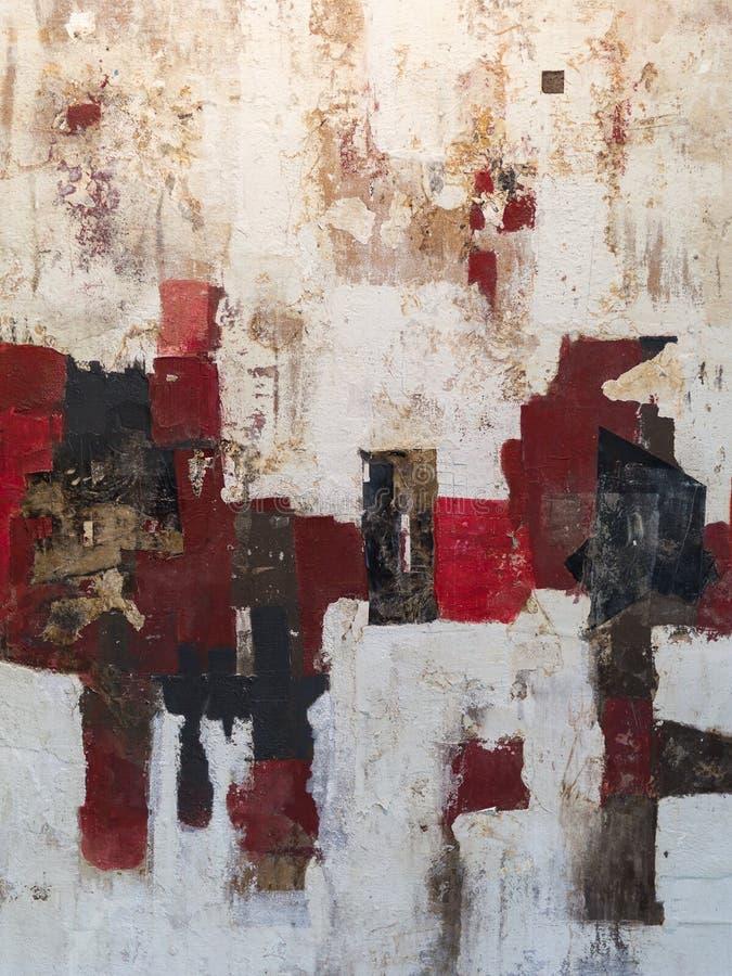 Αφηρημένη τέχνη ζωγραφικής: Κτυπήματα με τα διαφορετικά σχέδια χρώματος όπως κόκκινος, γκρίζος και άσπρος απεικόνιση αποθεμάτων