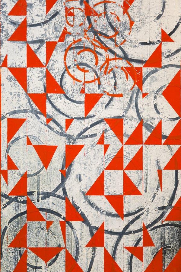 Αφηρημένη τέχνη ζωγραφικής με τις κόκκινες και μαύρες γεωμετρικές μορφές απεικόνιση αποθεμάτων