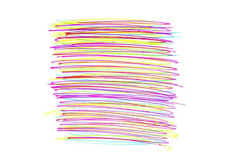 Αφηρημένη τετραγωνική μορφή με το φωτεινό ζωηρόχρωμο σχέδιο κτυπημάτων στο wh διανυσματική απεικόνιση