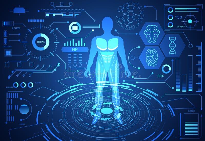 Αφηρημένη τεχνολογίας επιστήμης υγεία στοιχείων έννοιας ανθρώπινη ψηφιακή: διανυσματική απεικόνιση