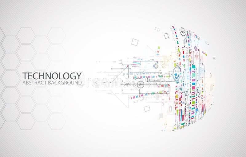 Αφηρημένη τεχνολογία μισή - υπόβαθρο σφαιρών Παγκόσμιο δίκτυο ομο ελεύθερη απεικόνιση δικαιώματος