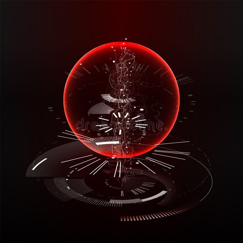 αφηρημένη τεχνολογία σχε&d Ταπετσαρία τεχνολογίας εφαρμοσμένης μηχανικής που γίνεται με τις γραμμές, σημεία, κύκλοι Φουτουριστική ελεύθερη απεικόνιση δικαιώματος