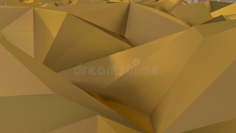 Αφηρημένη τρισδιάστατη απόδοση της χρυσής επιφάνειας ανασκόπηση φουτουριστι διανυσματική απεικόνιση