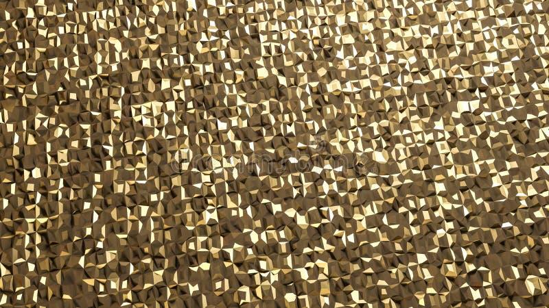 Αφηρημένη τρισδιάστατη απόδοση της χρυσής επιφάνειας ανασκόπηση φουτουριστι ελεύθερη απεικόνιση δικαιώματος