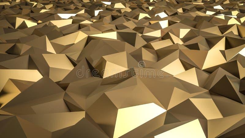 Αφηρημένη τρισδιάστατη απόδοση της χρυσής επιφάνειας ανασκόπηση φουτουριστι απεικόνιση αποθεμάτων