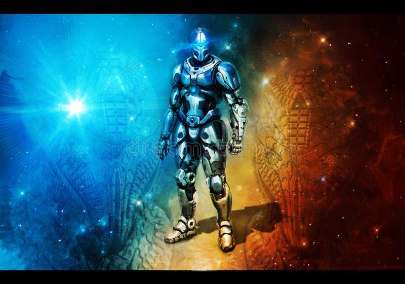 Αφηρημένη τρισδιάστατη δίνοντας απεικόνιση ενός ρομπότ που στέκεται σε ένα ζωηρόχρωμο υπόβαθρο διανυσματική απεικόνιση